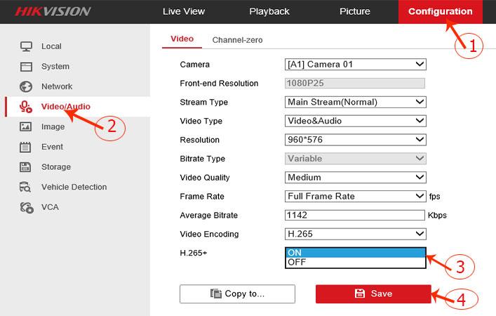 Hướng dẫn chỉnh chế độ lưu hình đầu ghi Hikvision chuẩn H265