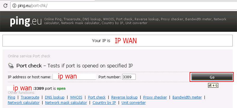 check port nat ip wan
