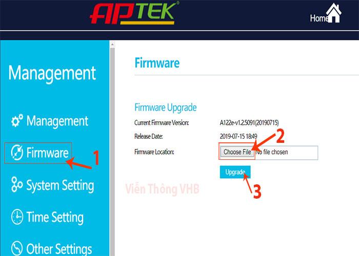 Link tải Firmware mới nhất Aptek A122e  V1.2.5091