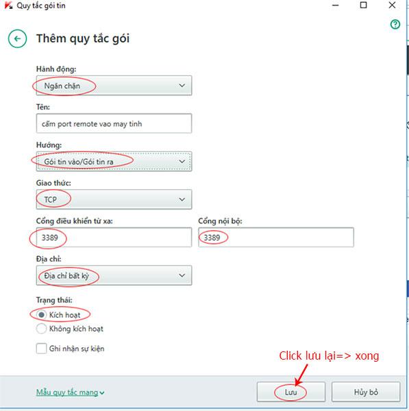 Cách Chặn Port trên phần mềm Kasperskey hoặc cho phép Port nào chạy