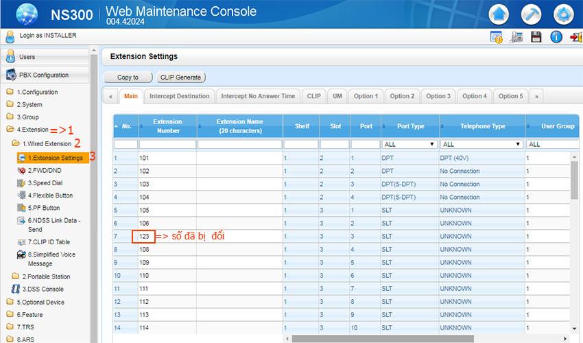 Cách đổi số nội bộ tổng đài panasonic kx-ns300 (đổi số nội bộ tổng đài ns300)