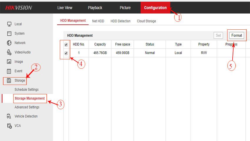 Hướng dẫn Format ổ cứng trên đầu ghi hikvision