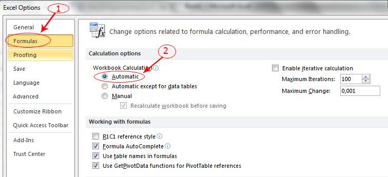 Sửa Lỗi Excel Công Thức Không Tự Động Tính ( Formulas Automatic)