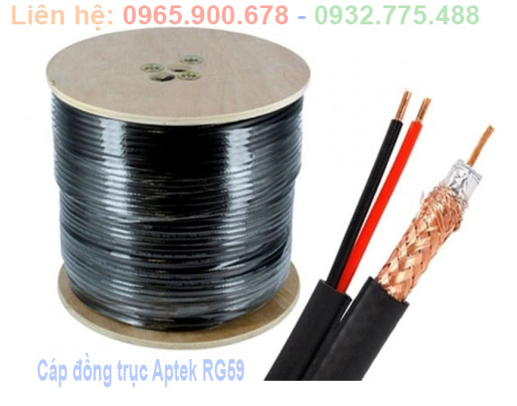 Cáp đồng trục kèm đôi dây nguồn APTEK RG59 - 305m
