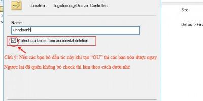 Cách Xóa  (OU) Orgnizational Unit trên Active Directory trên Windows Server 2016 /2012